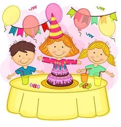 children celebrating birthday vector image vector image
