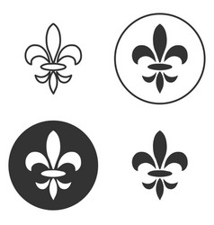 collection of fleur de lis symbols black vector image vector image