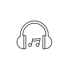 headphones music note icon vector image vector image