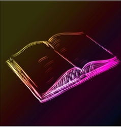 Open book glowing sketch icon vector image