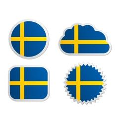 Sweden flag labels vector image vector image
