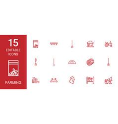 15 farming icons vector image