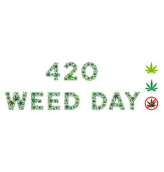 420 weed day caption collage of weed leaves vector