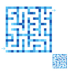 Abstract simple square isolated labyrinth blue vector