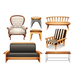 Assorted chairs on white vector image