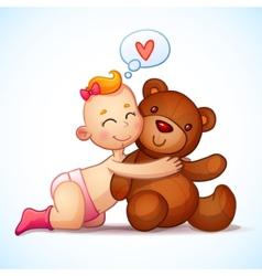 Baby girl redhead hugs Teddy Bear toy on a white vector