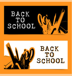 back to school doodle template isolated on white vector image