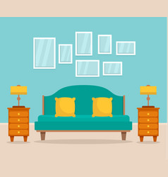 bedroom interior concept background flat style vector image