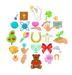 benignity icons set cartoon style vector image