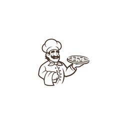 Black chef pizza logo vector