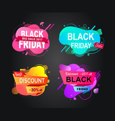 black friday banners with sales shops promotion vector image