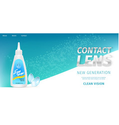 bottle with solution eye drops and contact lenses vector image