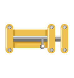 bright metal lock with yellow corpus and shiny vector image