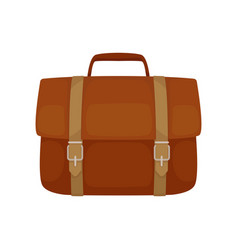 brown leather briefcase with belts and small vector image