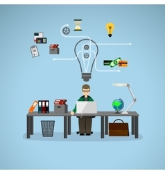 Businessman working at a desk vector