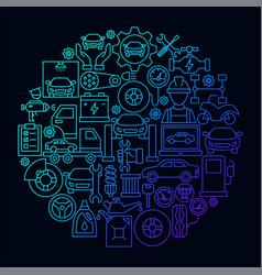 car service line icon circle concept vector image