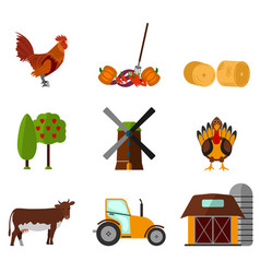 Cartoon flat agriculture icon and sign vector
