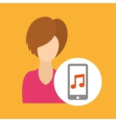 Character girl smartphone music application vector