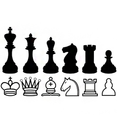 Chess piece silhouettes and symbols vector