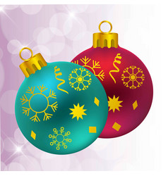 christmas balls with snow flakes vector image