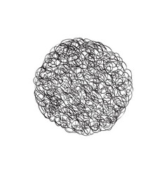 Circle logo design element chaotic line scribble vector