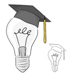 Classic light bulb with graduation cap vector