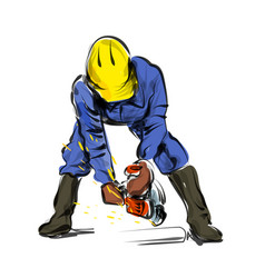 color line sketch construction worker vector image