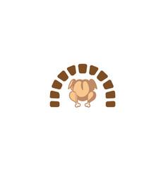 creative oven grilled chicken turkey food logo vector image