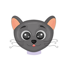cute cartoon black cat isolated image on white vector image