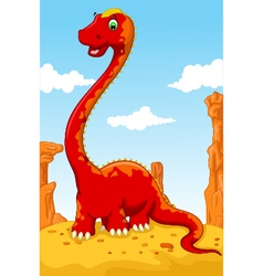 Cute dinosaur cartoon with desert landscape backgr vector