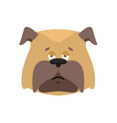 Dog sad emoji pet sorrowful emotions bulldog dull vector