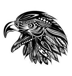 doodle art head eagle with the vector image
