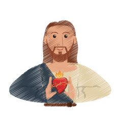 drawing jesus christ sac heart design vector image