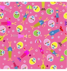 Easter bunny seamless pattern holiday background vector image