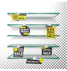 empty supermarket shelves black friday sale vector image