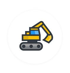 Excavator icon flat style vector