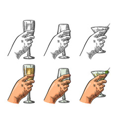 female hand holding glass cocktail wine vector image