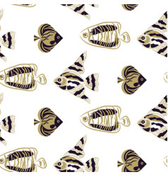 Fish stylish seamless pattern olive green vector