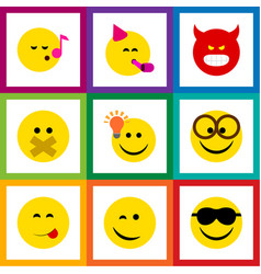 flat icon face set of descant happy pouting and vector image