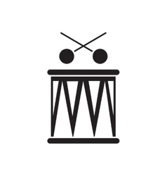 Flat icon in black and white drum vector