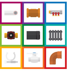 flat icon plumbing set of flange heater tap and vector image