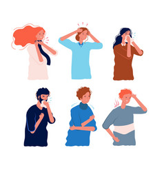 flu symptoms people characters illness fever vector image
