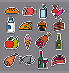 food grocery stickers vector image
