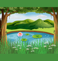 Forest scene with pond and mountains vector