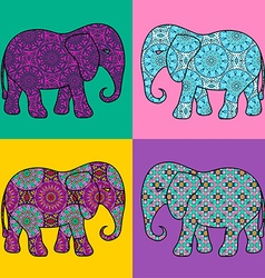 Four isolated patterned elephant vector