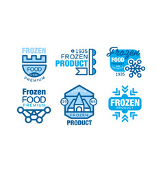Frozen food labels collection premium product vector