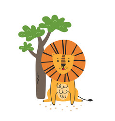 funny cartoon lion scandinavian vector image