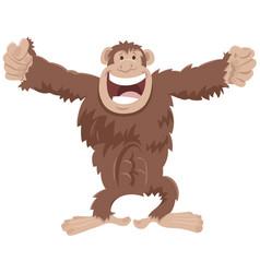 funny chimpanzee ape cartoon animal character vector image