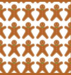 gingerbread men seamless pattern vector image
