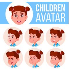 girl avatar set kid primary school face vector image